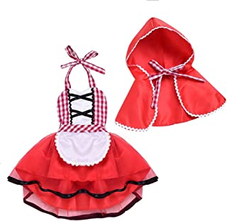 Baby Girls Little Red Riding Hood Halloween Costumes Cape Cloak Outfits Fairy Tale Fancy Dress Up Cosplay Outfit