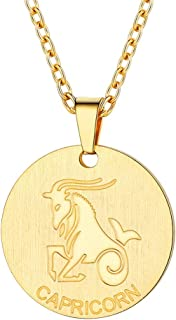 Customizable Astrology 12 Constellation Horoscope Necklace, Stainless Steel/Gold Plated Zodiac Star Sign Coin Pendant Necklace Birthday Gifts Men Lucky Charms Layered Necklace for Women