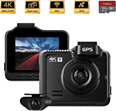 OnReal 4K+1080P Dual Dash Cam 3840x2160P Front and Rear Car Camera, Driving Recorder with WiFi GPS, 170° Wide Angle, Night Vision, Parking Monitor, Loop Recording, Time Lapse, G-Sensor, WDR, 32GB Card