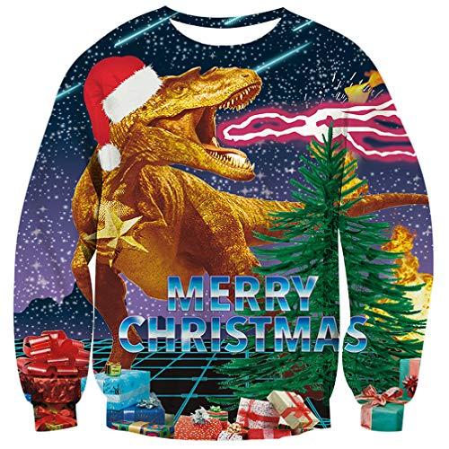 UNIFACO Weihnachtspullover Damen Herren Lustige 3D Gedruck Muster Rundhals Langarm Weihnachtspullover Weihnachtspulli Christmas Winter Geschenke