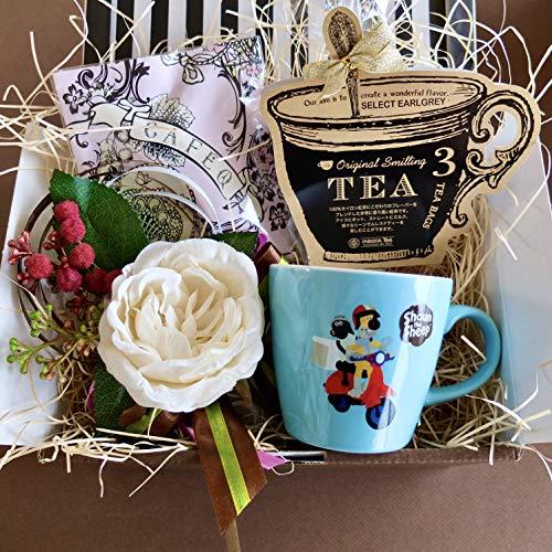 フラワーローズギフト(ショーンマグ&チョコレート&紅茶)/セット、詰め合わせ (ブルーマグ)/ピンクエンジェルラッピング