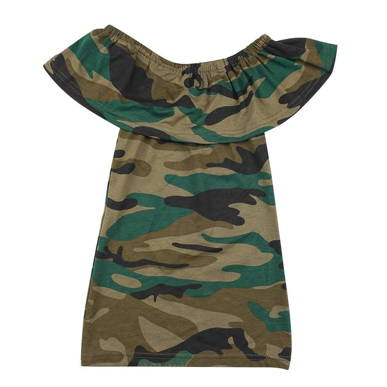 Huarll Toddler Baby Girl Off Shoulder Ruffle Dresses Camouflage Strap Skirt Summer Sleeveless Halter Girls Sundress