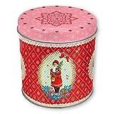 Retro Keksdose für Weihnachten klein mit Weihnachtsmann einzeln, nostalgie, rot, rund, aus Blech, ca. 10cm hoch