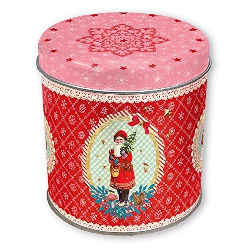 Grätz Verlag Retro Keksdose für Weihnachten klein mit Weihnachtsmann einzeln, Nostalgie, rot, rund, aus Blech, ca. 10cm hoch
