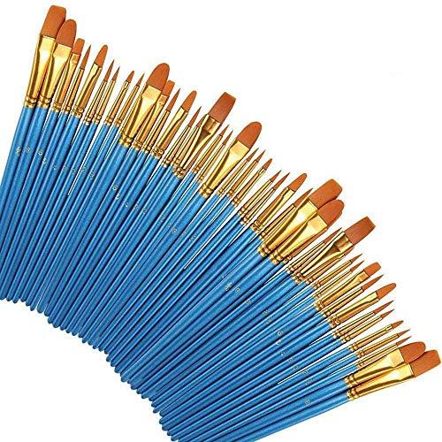 Juego de Pinceles Pintura Acrilica, 50 Pinceles de Pintura para Artistas Profesionales, Pinceles de Nailon para acrílico, óleo, Acuarela, aguada y Pintura Facial