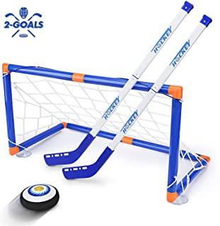 STREET WALK Kids Toys - LED Hockey Hover Set 2 Goals Mini Screwdriver - Air Power Training Ball Playing Hockey Game - Hockey Toys 3 4 5 6 7 8 9 10 11 12 Year Old Boys Girls Best Gift