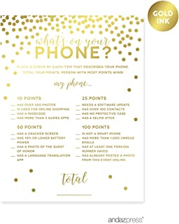 Andaz Press Metallic Gold Confetti Polka Dots Party Collection, What's on Your Phone Game Activity Cards, 20-Pack