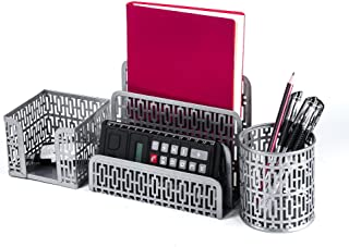 Crystallove Metal Mesh Office Desktop Supplies Organizer Set of 3pcs-Pencil Cup, Stick Note Holder and Letter Shelf (Silver-Style 1)