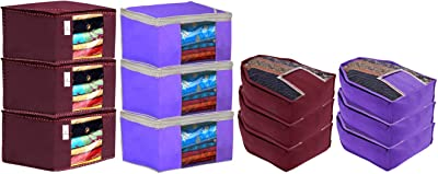 Kuber Industries Non Woven 6 Pieces Saree Cover/Cloth Wardrobe Organizer and 6 Pieces Blouse Cover Combo Set (Maroon & Purple)- CTKTC045401