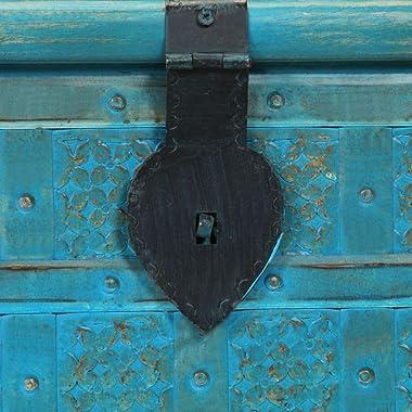 "vidaXL Solid Mango Wood Storage Chest Vintage Treasure Box Trunk Home Living Room Bedroom Organizer Blue 39.4"""