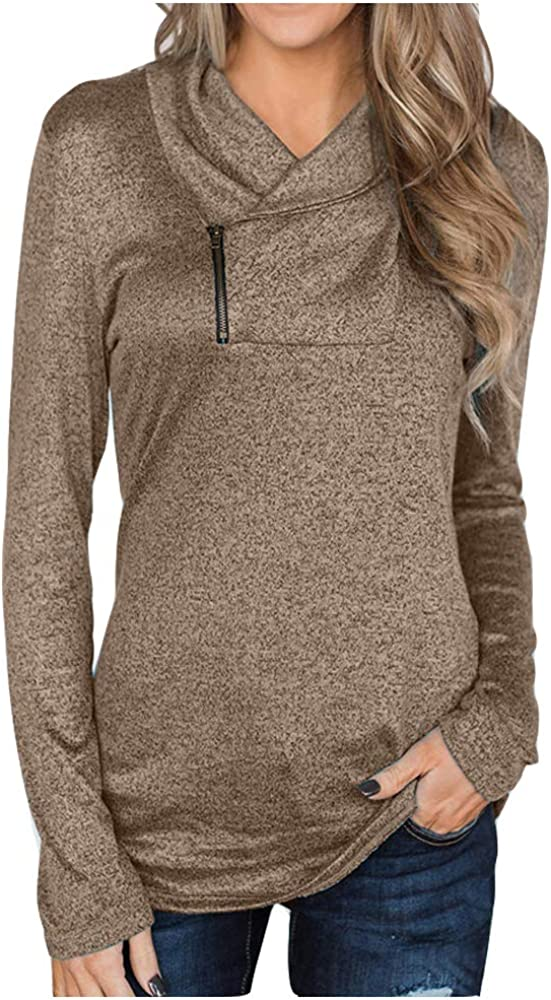 Lghxlxry Women's Cowl Neck Zip Up Sweatshirts Casual Long Sleeve Pullover Slim Fit Tunic Tops
