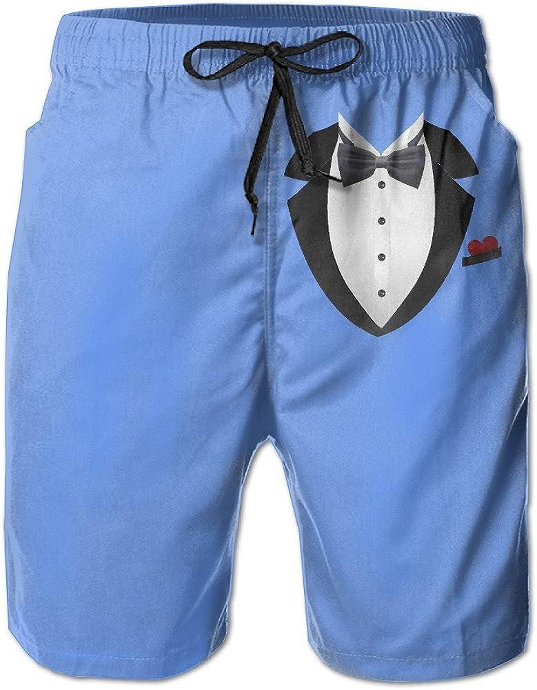 Men's Tuxedo with Bowtie Board Shorts Swim Trunks