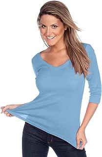 ! Women V Neck 3/4 Sleeve Top