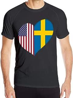 Heart Swedish American Flag Men's Short Sleeve T Shirts Quick Dry Jogging Tees