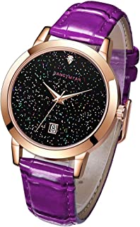 Perfect Home 1661 Modern Simplicity Quartz Wrist Watch Starry Sky Dial with Calendar & Leather Strap/Band & Alloy Case Watch for Women Fashion (Color : Purple)
