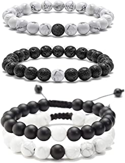 MEALGUET 4 Pcs Couple Yin Yang Black Lava Rock and White Howlite Beads Distance Relationship Couple Bracelets Gemstone Beaded Bracelets for Lover Friend, his and Hers Bracelets Set,Couple