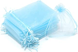 Dealglad 100pcs Drawstring Organza Jewelry Candy Pouch Party Wedding Favor Gift Bags (3x4, Sky Blue)