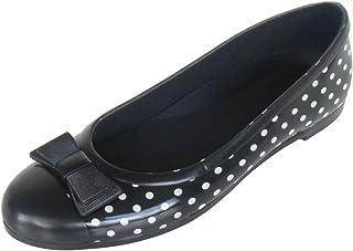 長靴 レインシューズ 雨靴 防水 パンプス バレエ フラット シンプル ショート リボン バイカラー ドット 水玉 軽量 通勤 2色 レディース
