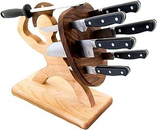 Spartan Knife Set - Chef's Edition - 8-piece, Handmade, Heavy Steel Professional Knife Set - American Maple & Walnut