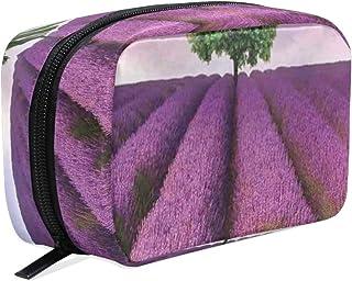 PATINISA化粧ポーチ、ロンリーツリーパープルフィールドプリント、多機能 大容量 収納バッグ インナーバッグ 化粧品収納ポーチ メイクバッグ 旅行用 持ち運び便利 軽い