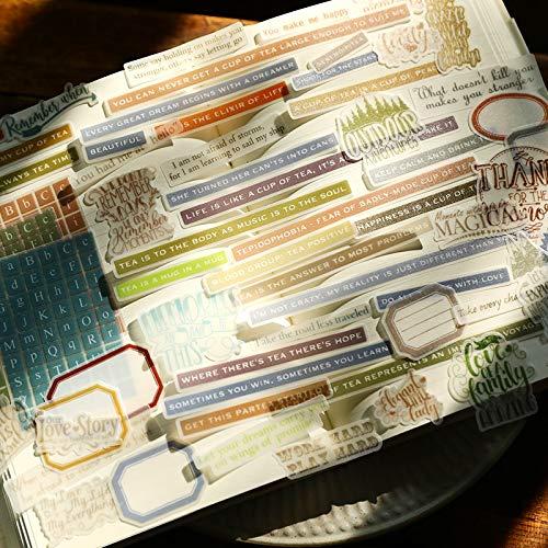 BLOUR WOKO Retro Junk Journal Material Salz INS Phrase Alphabet Grundlegende englische Wörter Deco Schwefelsäure Papier Aufkleber DIY Scrapbooking
