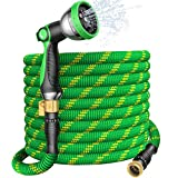U UZOPI Expandable Garden Hose 100ft - Flexible Water Hose Retractable Hose with 10 Function Spray Nozzle, 3/4' Solid Brass Fitting, Strong Latex Core, Rot, Crack, Leakproof Lightweight No-Kink Flex