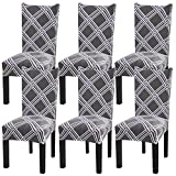 Fuloon 6 Pack Super Fit Stretch Removable Washable Short Dining Chair Protector Cover Seat Slipcover for Hotel,Dining Room,Ceremony,Banquet Wedding Party (Gray Stripe)