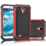 Tekcoo for Galaxy S4 Case, [Tmajor Series] [Red/Black] Shock Absorbing Hybrid Rubber Plastic Impact Defender Rugged Slim Hard Case Cover Shell for Samsung Galaxy S4 S IV I9500 GS4 All Carriers