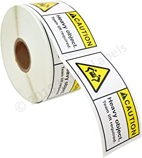 "1 roll: 500 Labels per roll, 3x1.5 Caution Heavy Object Team Lift Required Pre-Printed Labels/Stickers (3"" x 1.5"") BPA Free"