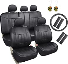 Leader Accessories 17pcs Black Faux Leather Car Seat Covers Full Set Front + Rear with Airbag Universal Fits for Trucks SUV Included Steering Wheel Cover/Seat Belt Covers