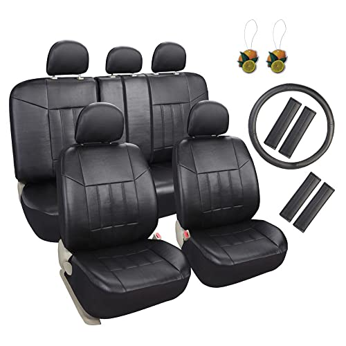 Leader Accessories 17pcs Black Faux Leather Car Seat Covers Full Set Front + Rear with Airbag