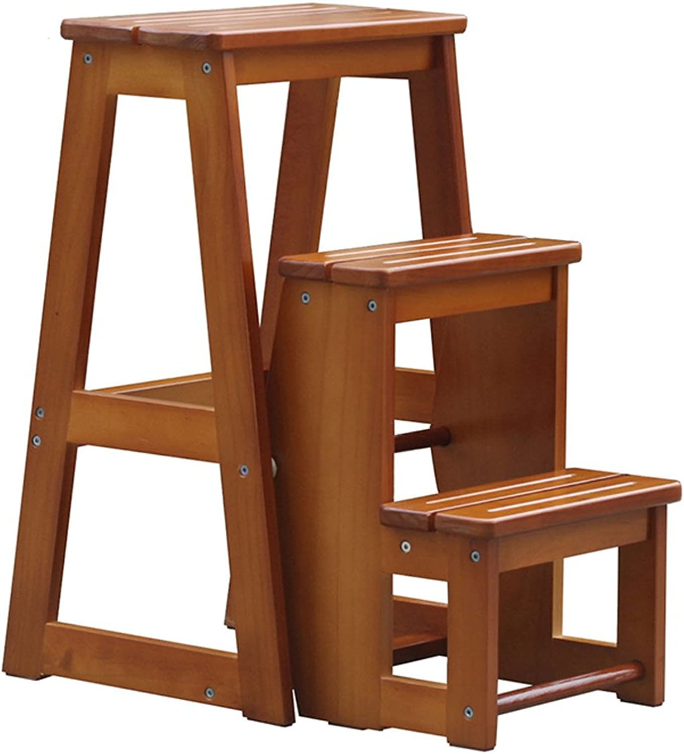 Solid Wood Three-Story Stair Stool Home Folding Ladder Chair Dual Indoor Ladder Climbing Stool Stool Furniture (color   Brown, Size   2835.564cm)