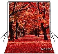 LB 背景布 1.5×2.1m/5x7ft 秋の風景 自然風景 紅葉 写真撮影 バックペーパー 人物/商品撮影 背景シート 撮影スタジオ用 アイロンかけ可 折り畳み可 新婚撮影