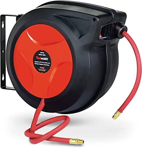 """ReelWorks Air Hose Reel with 3/8"""" x 50' Hybrid Polymer Hose, Max. 300 ps"""