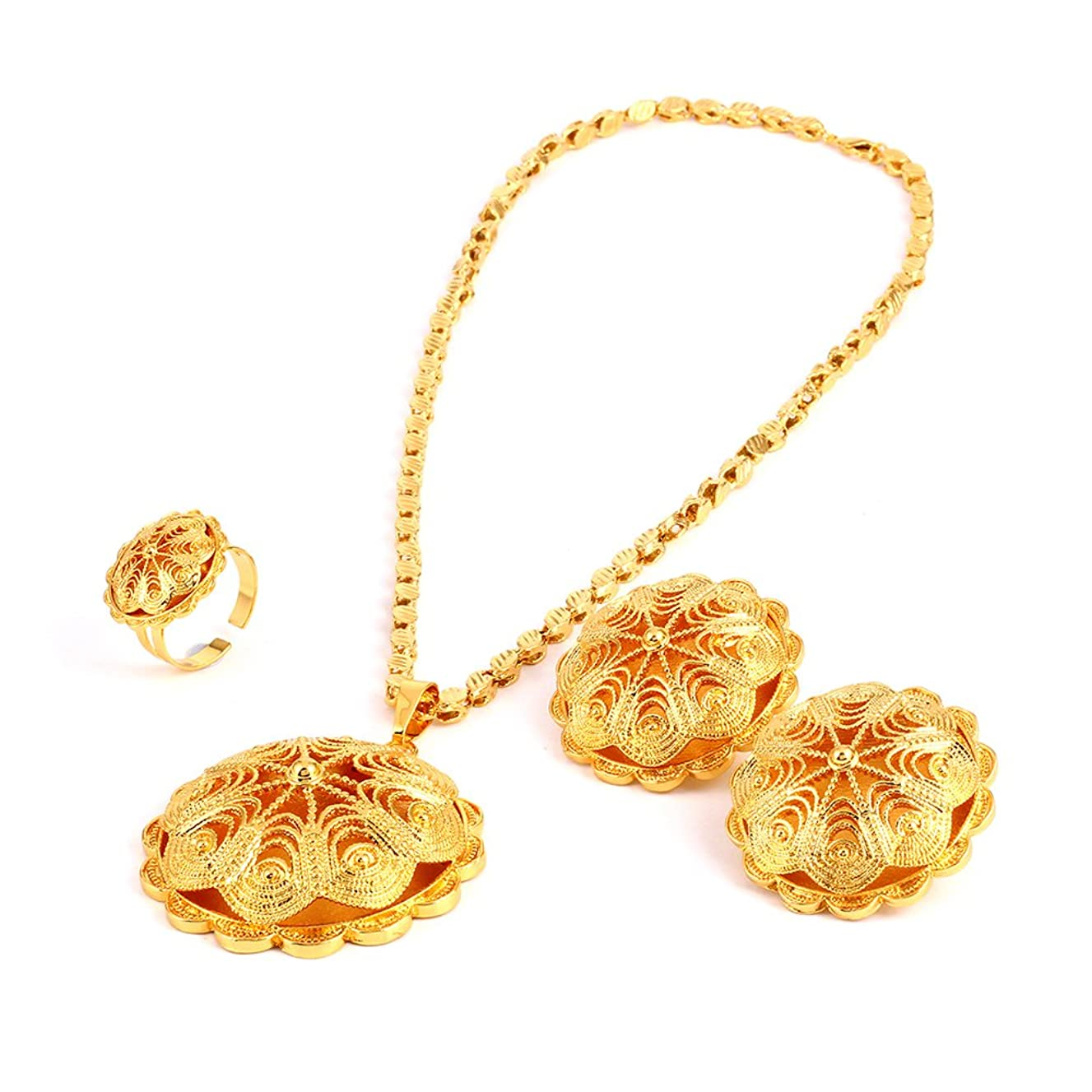 18K Gold Plated Big Size Jewelry Sets for Ethiopian Habesha Women Wedding Party Jewelry