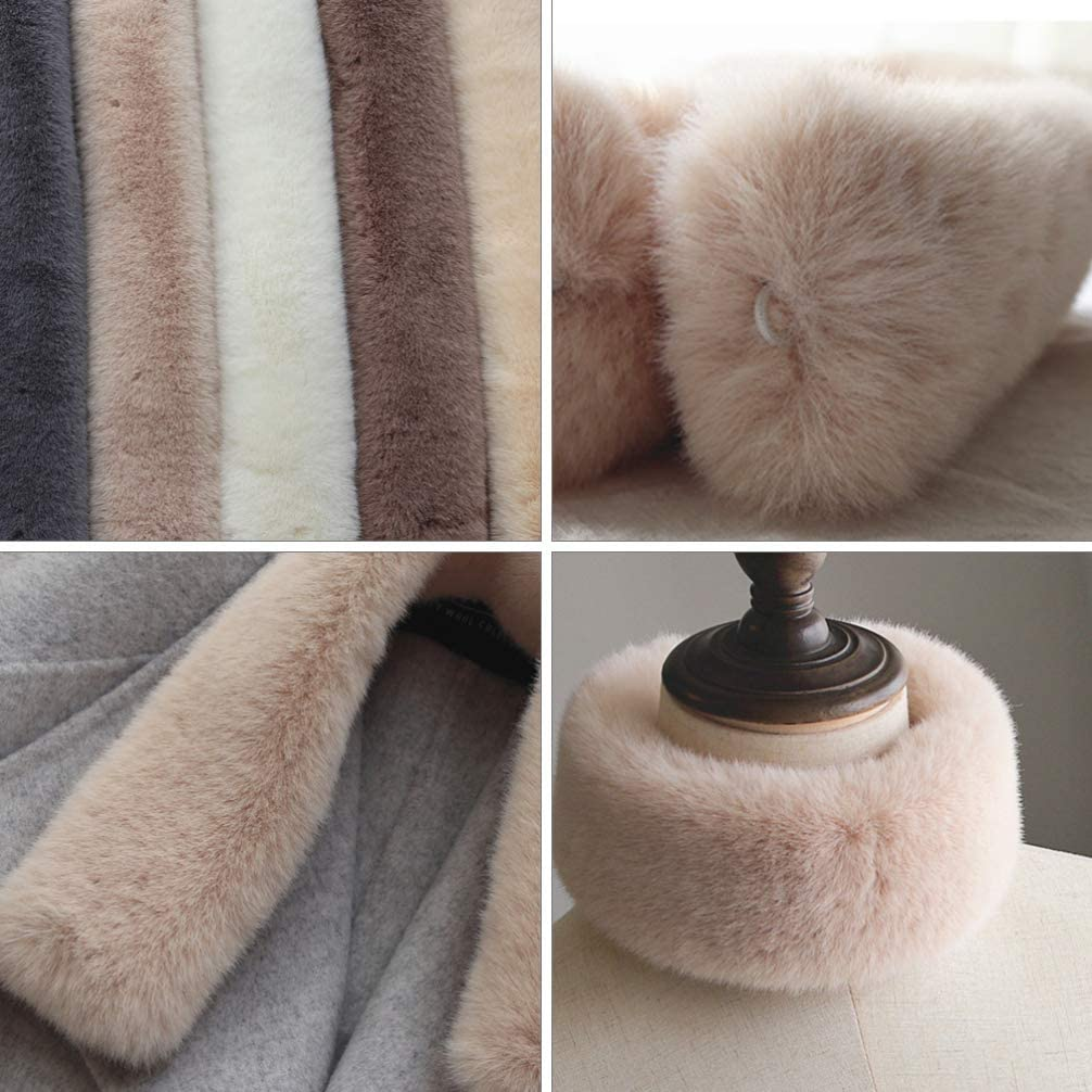 VALICLUD Faux Fur Collar Scarf Kids Winter Scarf Thermal Plush Neck Warmer Christmas Scarves Winter Soft Neck Warmer Xmas Stocking Fillers Beige