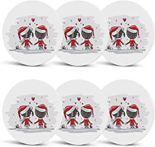 Christmas Decorations Non Slip Coasters,Soul Mates Love With Santa Costume Family Romance Winter Night Picture for Office HomeSet of 6