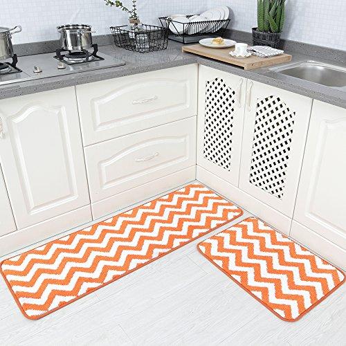 Carvapet 2Stück Mikrofaser Chevron Rutschfeste Weiche Küche Bad Teppich Fußmatte Läufer Teppich Set 17