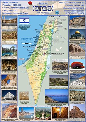 Poster von Israel – Papier laminiert A0 Size 84.1 x 118.9 cm farblos