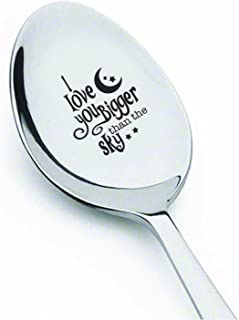 Friendship gifts - Fathers day gifts - Engraved spoon - I love you bigger than the sky spoon - Gifts for dad - Engagement ...