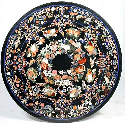 Indiano Cottage Arte e Artigianato Lavoro In Marmo Intarsiato Tavolo Da Ufficio Tavolo Da Pranzo Nero Dimensioni 96 pollici