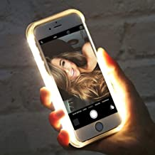 stargoldenbell White Light Up Selfie LED Phone Protective Case Cover Shell for iPhone 5 6 7 8 X Hot Pink for iPhone Xs Max