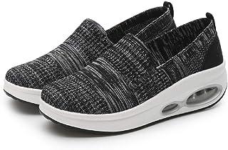 LingGT Mesh Shoes Women Rocker Sole Breathable Slip on Trainers (Color : Black, Size : AU 5.5)
