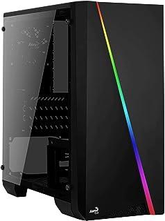 Aerocool Cylon Mini   mATX RGB PC Spieletasche, Seitenfenster aus gehärtetem Glas, 13 Beleuchtungsmodi, 1 x 80 mm schwarzer Lüfter inklusive, Micro & Mini ATX Unterstützung   Schwarz