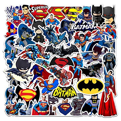 YZFCL Batman Superman Suitcase Lever Box Laptop Skateboard Guitar Waterproof Doodle Sticker 45Pcs