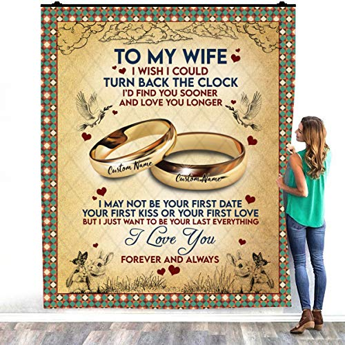 To My Husband I Wish I Could Turn Back The Clock I Love You - Manta de cama para decoración de dormitorios (152 x 203 cm)