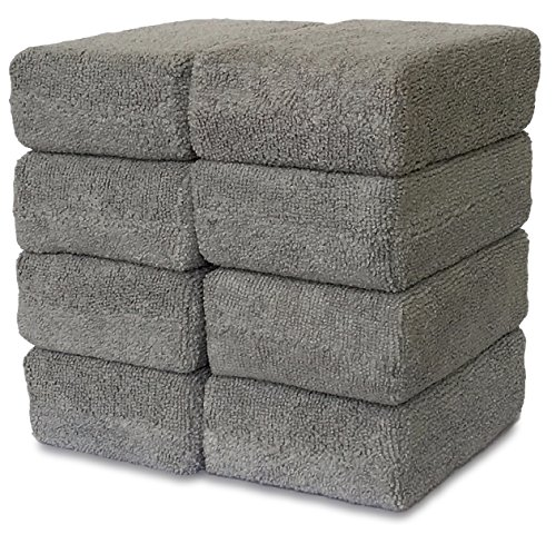 VibraWipe Microfiber Sponge Applicators (8-Pk, 5.8x4x2in, Grey)– Sponge Wrapped in Microfiber Cloths. Strong Inside-Stitches, Great for Applying Wax, Sealants & Other Conditioners