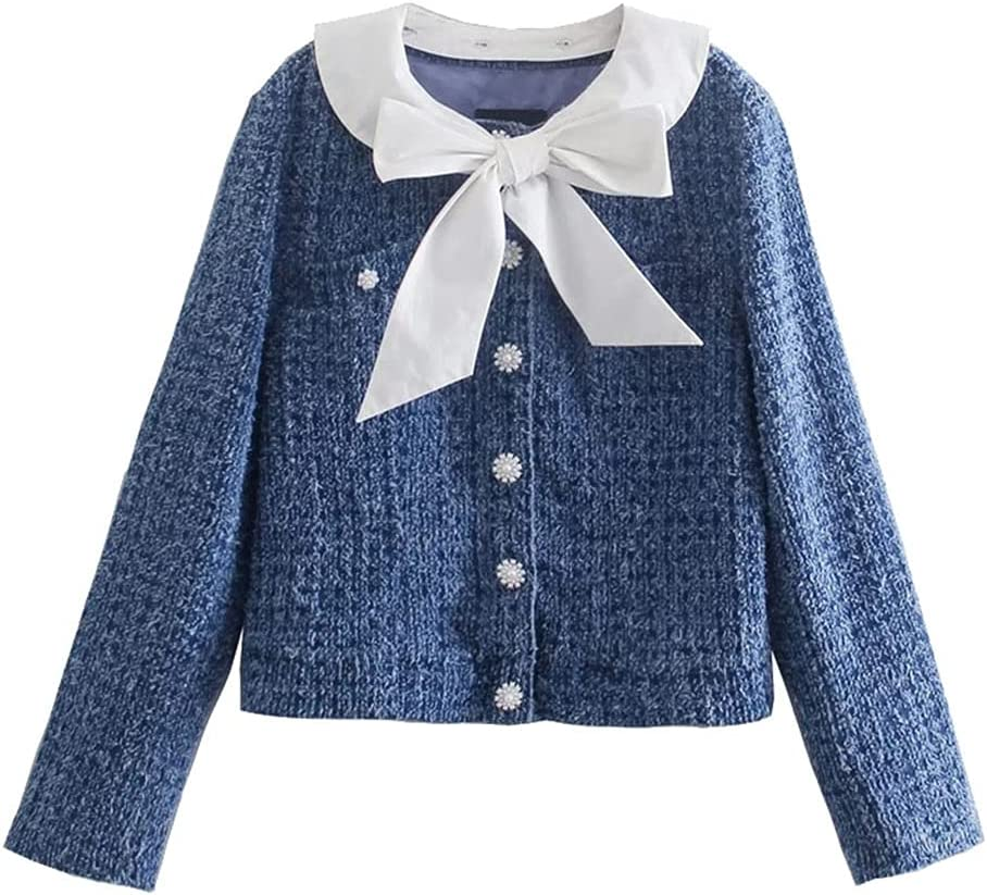 CDQYA Women Fashion with Bow Tied Faux Pearl Buttons Jacket Coat Vintage Long Sleeve Female Outerwear Chic Tops (Color : Blue, Size : L Code)