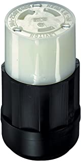 Leviton C2623 30 Amp, 250 Volt, NEMA L6-30R, 2P, 3W, Locking Connector, Industrial Grade, Grounding, Black-White