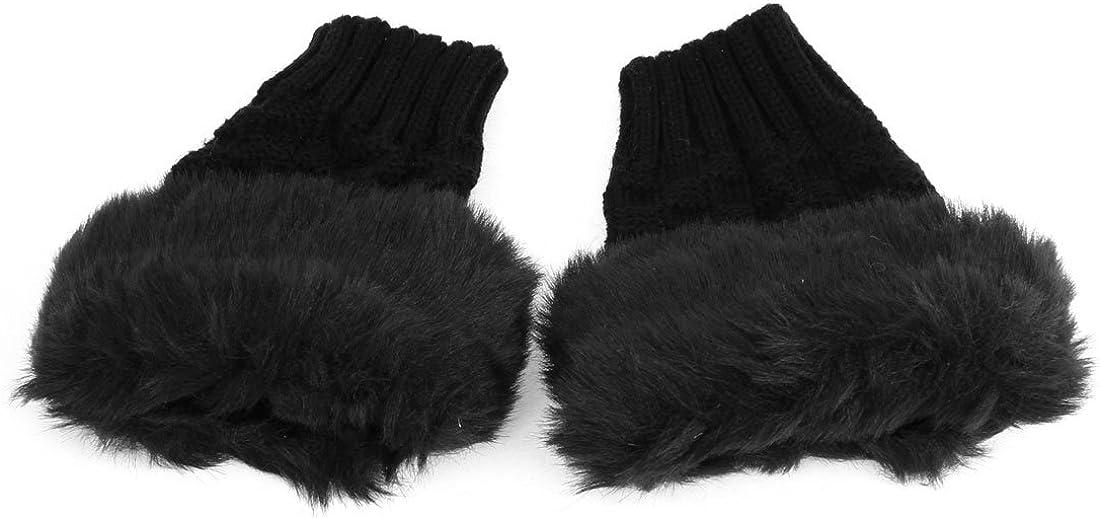 Woman Pair Faux Fur Thumb Hole Winter Wrist Fingerless Gloves
